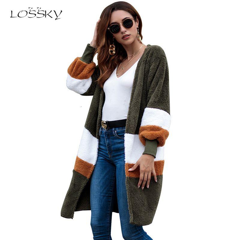 Lossky Abbigliamento Donna Autunno Inverno a maniche lunghe maglione peluche cappotto caldo femminile di moda lungo della rappezzatura della banda allentata Lady Cardigan DT191023