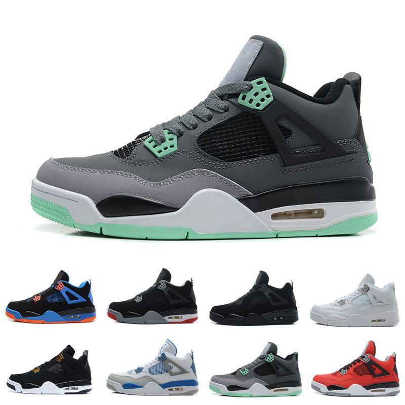 4 4s pintada del tatuaje blanco y negro zapatos Cactus Jack Raptors de baloncesto del Mens Kaws Travis Scotts dinero de las regalías Bred rojo fuego de los hombres zapatillas de deporte