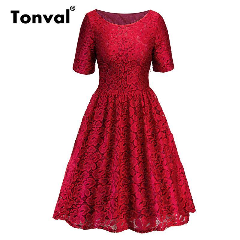 الجملة خمر أحمر عارضة مطوي اللباس الأنيق جولة الرقبة مكتب سيدة فساتين النساء فستان قصير الأكمام الصيف