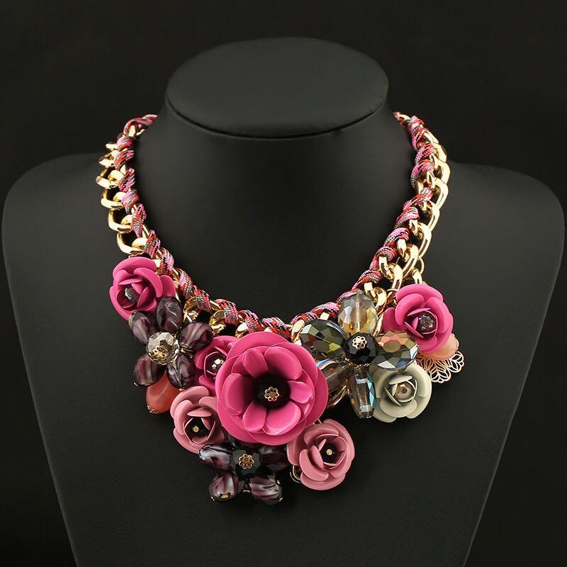 Fashion exaggeration fashion necklace woven rope Flower Necklace women accessories wedding party multi color options free shipping