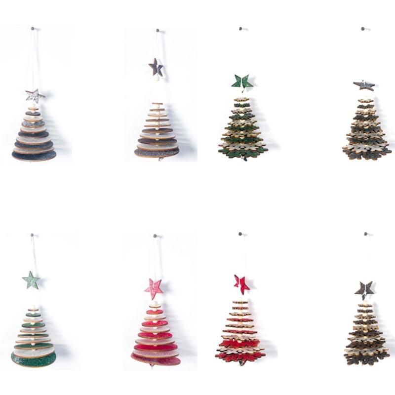 Xmas Tree Pendants Hanging Wooden DIY Christmas Decoration Home Party Decor Gift