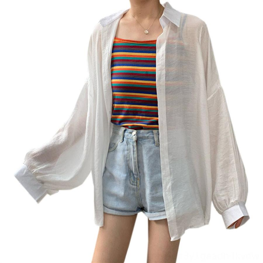 Sunscreen thin long sleeve Women Lantern Shirt shirt 2020 purple top Lantern sleeve sunscreen coat