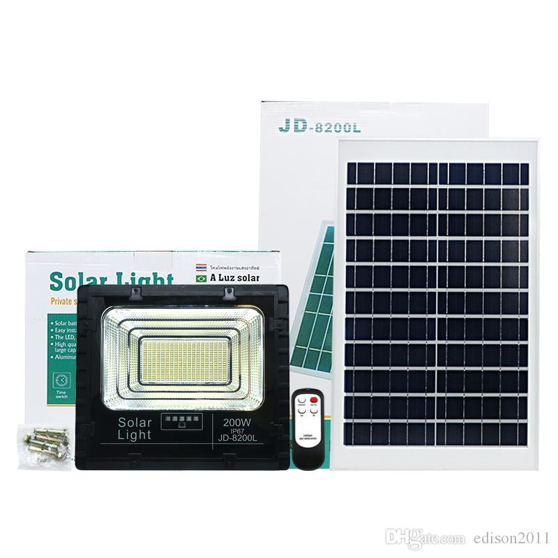 Edison2011 Высокого качества 200W LED солнечного свет сад Открытого Портативные солнечные прожектора стрит безопасность Лампа Светильники с индикатором батареи