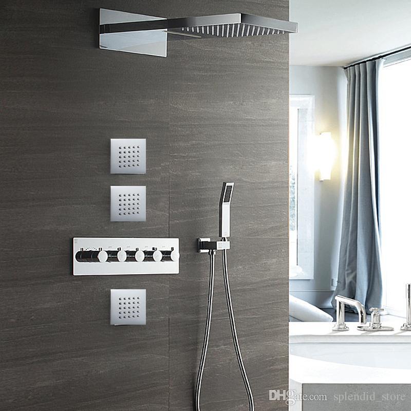 마사지 폭포 벽걸이 식 샤워기 대형 비 난방 온수 및 냉풍 대형 샤워 시스템 + 바디 제트 스프레이 + 휴대용 샤워