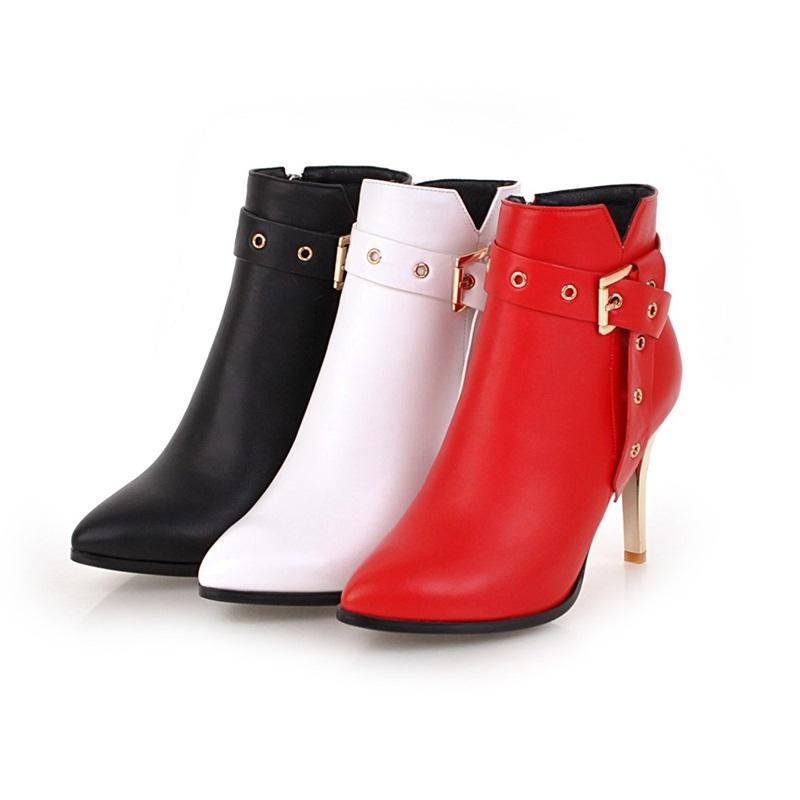 Vendita- inverno caldo nuova punta aguzza di moda alti talloni eccellenti sottili scarpe da donna decorazione della chiusura lampo in metallo stivaletti partito elegante