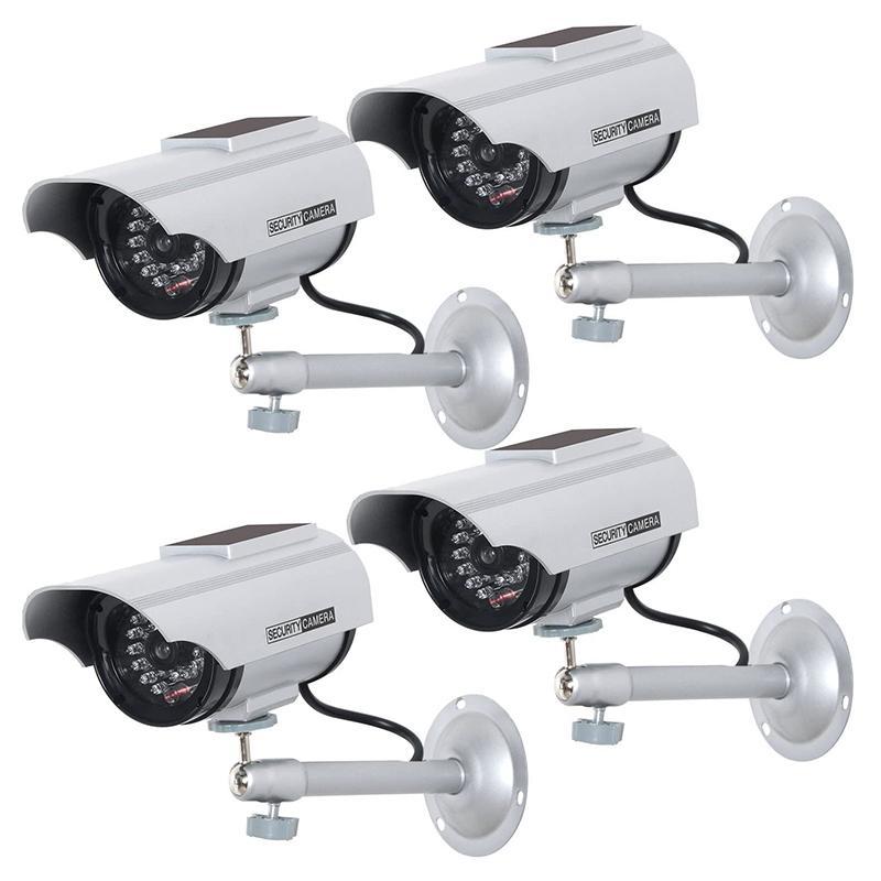 4 팩 태양 강화 된 더미 가짜 시뮬레이션 감시 보안 CCTV 돔 카메라 LED 라이트 경고 보안과 실내, 실외