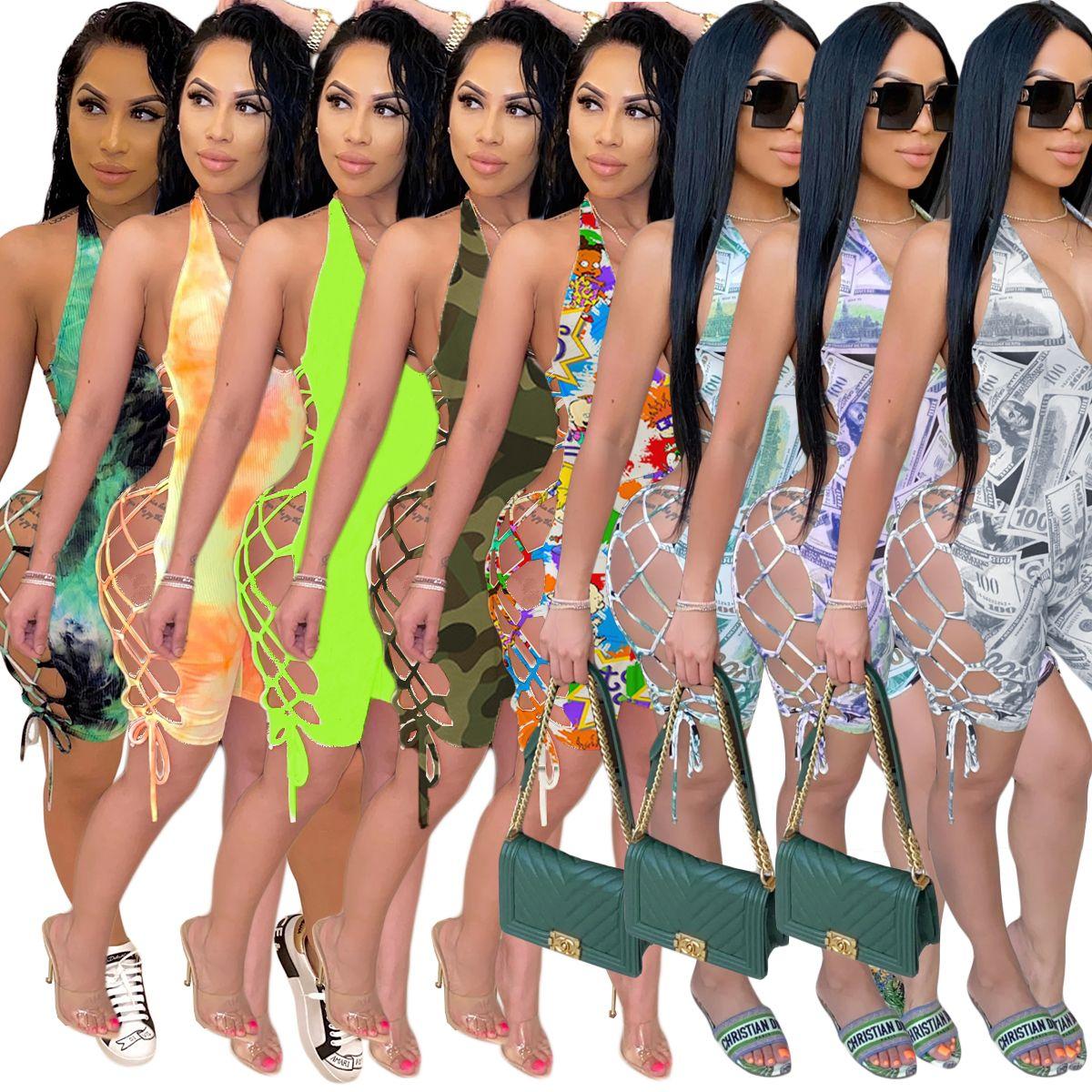 Multi-Muster gedruckt Sexy Frauen Nachtclub Jumpsuits mit Bandagen Halfter mit V-Ausschnitt Lace up Backless Nachtclub-Party-Dame Playsuits Shorts