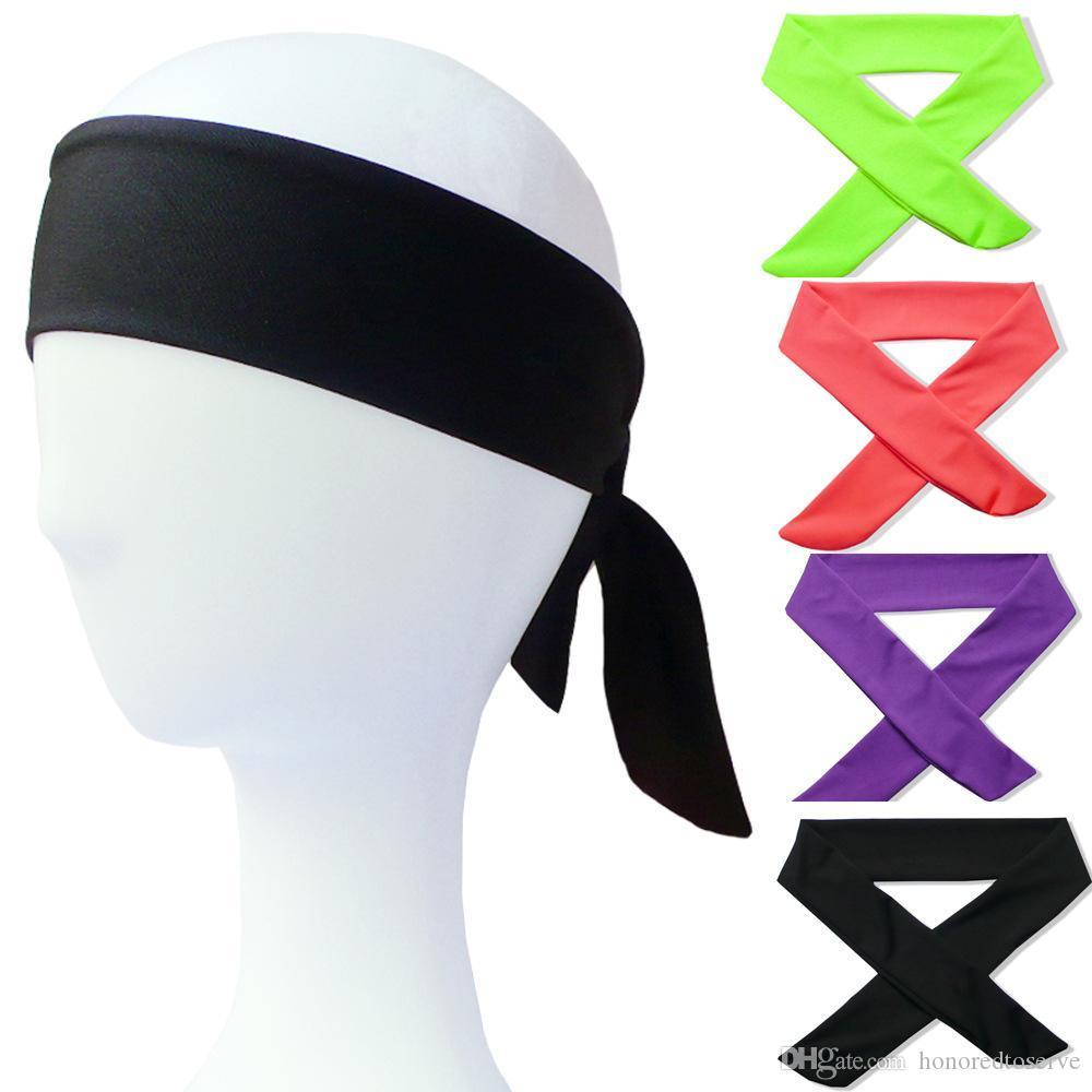 Stampa in tinta unita Albero Cotone Elastico Fascia Fascia per capelli Cintura per legare Indietro Umidità Traspirante Allenamento 22 colori