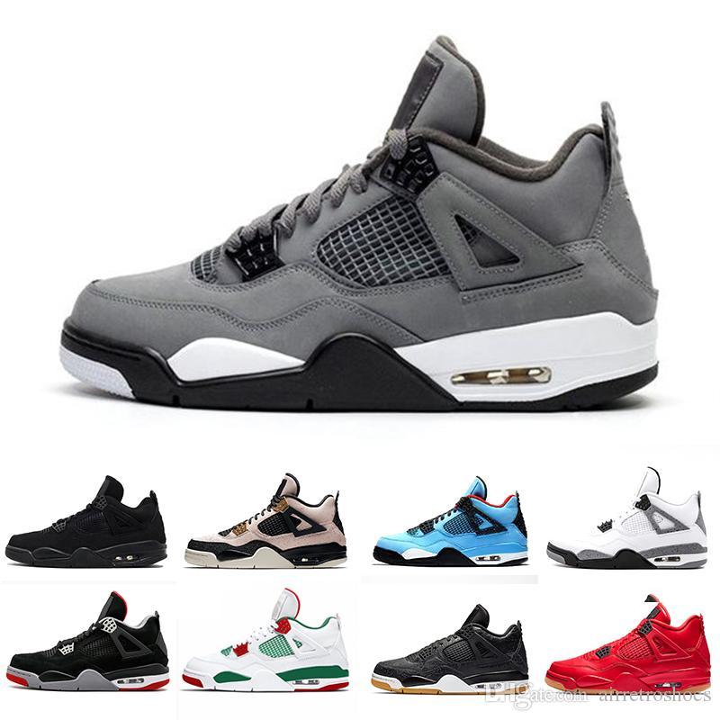 2019 Nuevos 4s gris fresco IV Lo que los zapatos Cactus Jack láser Alas de baloncesto del Mens Denim azul pálido Eminem Deportes zapatillas de deporte de diseño