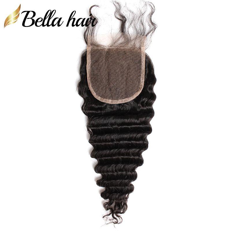 Humianes 100% CHEEDUX Vierges Reine Cheveux Peruviens Koronki Zamknięcie 4x4 Tkaniny Avec des de Cheveux Deep Wave Bella Hair DHL Graduit