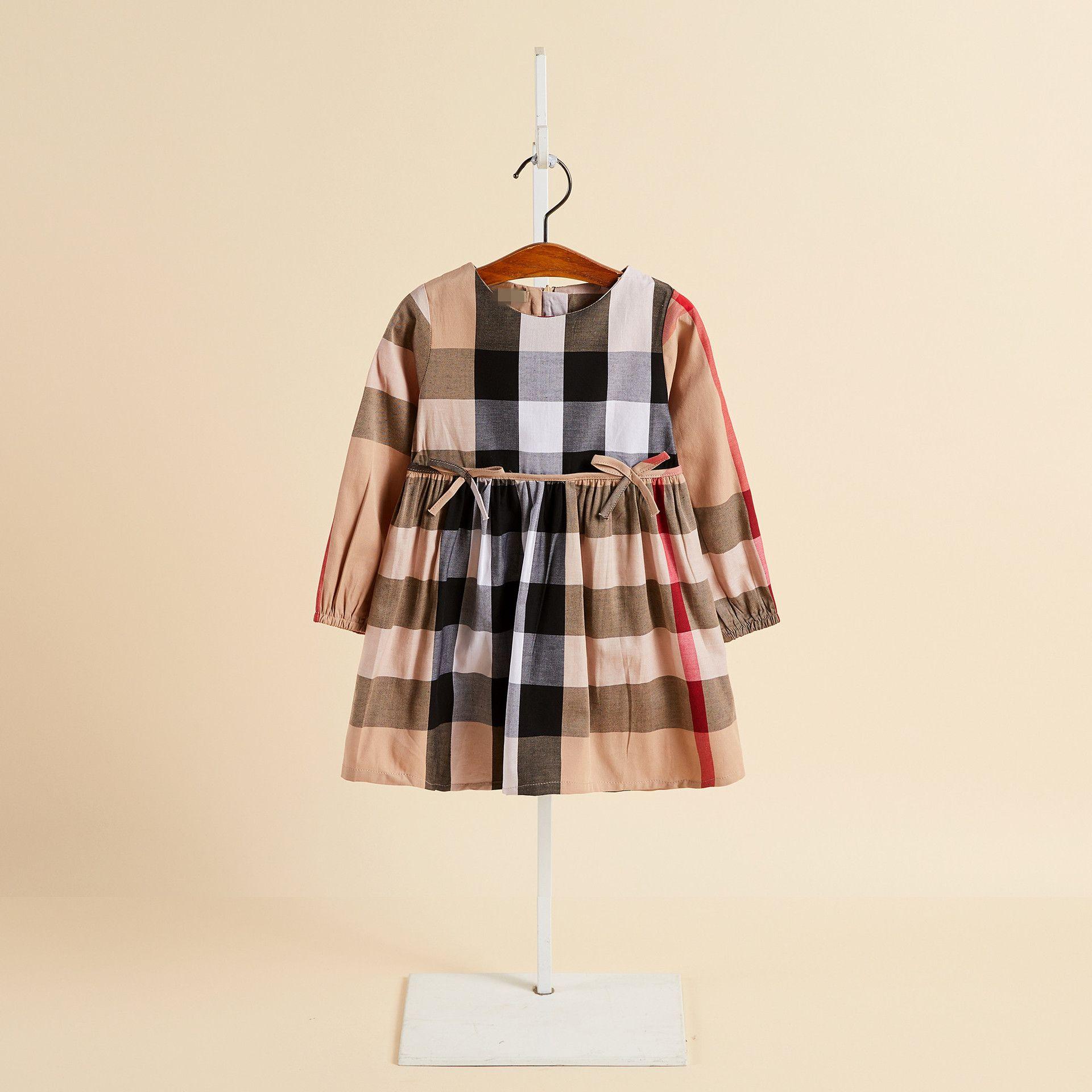 kız prenses elbise pamuk yay uzun kollu çocuk elbise Yeni çocuk giyim ilkbahar ve sonbahar yuvarlak boyun elbise
