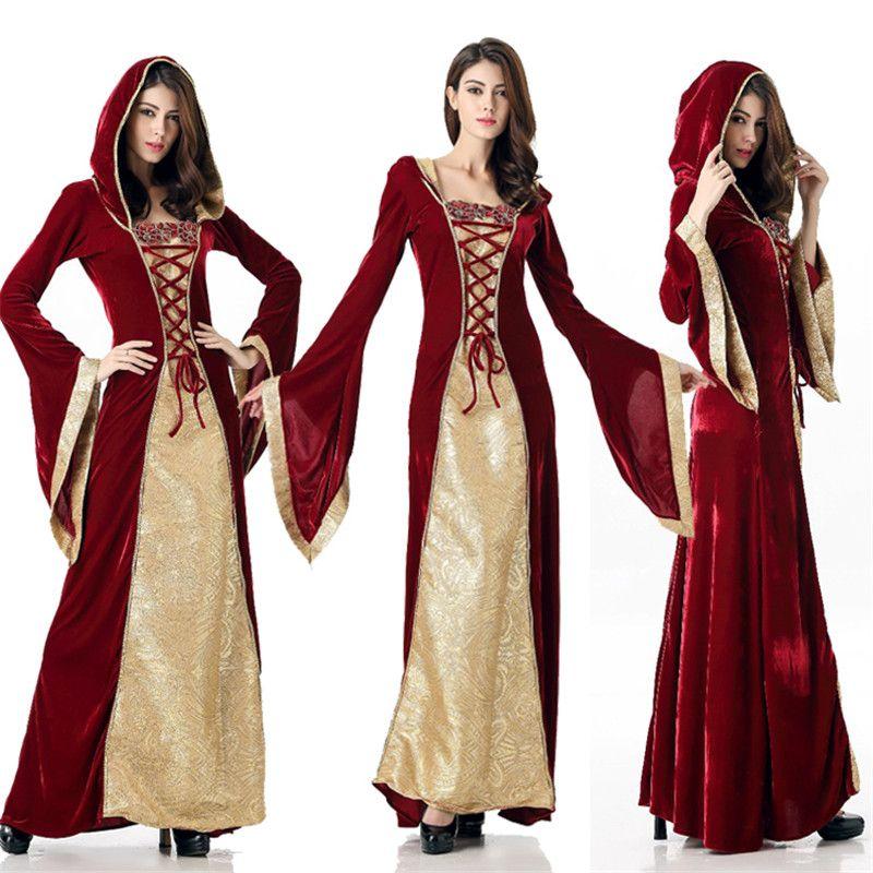 Halloween-Kostüm-Frauen Mittelalterliche Retro Prinzessin Dress Partei-Leistungs-Bühnenshow Kleidung Maskerade-Rollenkleid