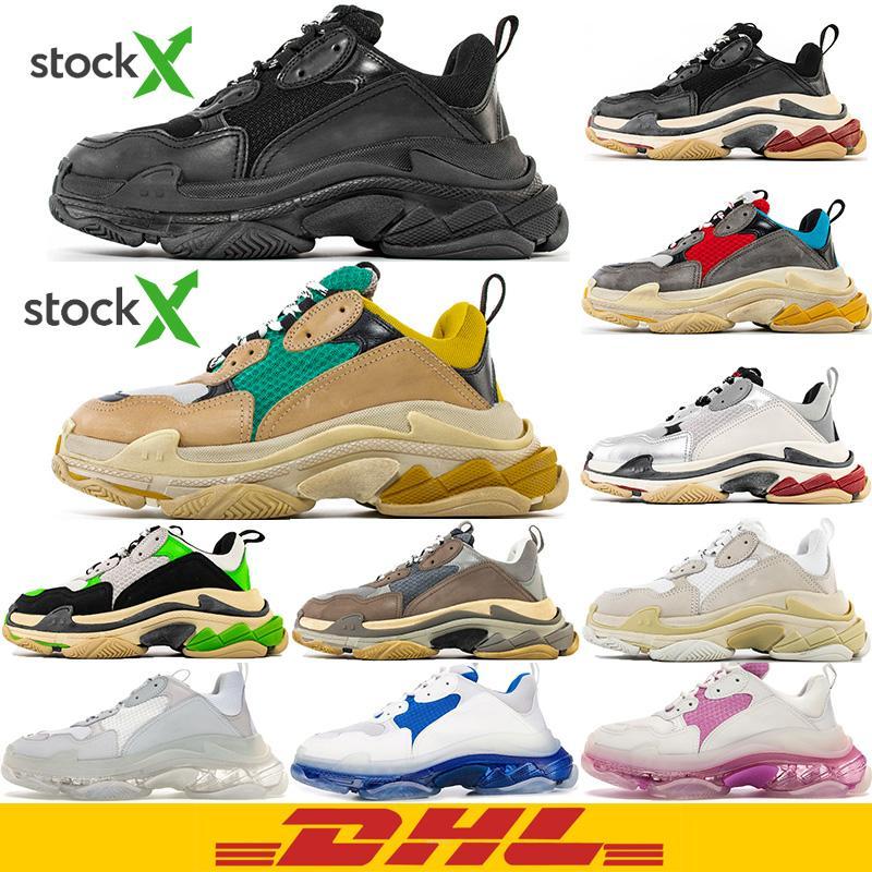 DHL geben Verschiffen frei Hochwertige 2020 New Paris Fashion 17FW Triple S Sneakers Boots Männer Frauen Grün Weiß Vintage alte Dad Großvater Freizeitschuhe