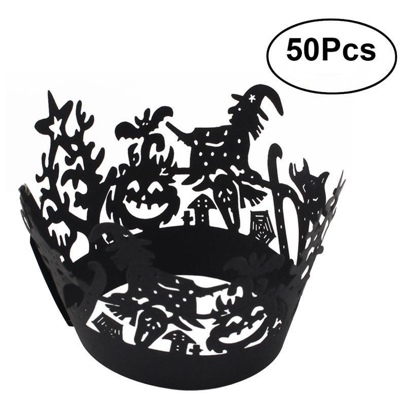 50 قطع هالوين الرباط قص المجمع cupcake اينر صواني الخبز كأس الكعك حالة الزفاف حفلة عيد الديكور
