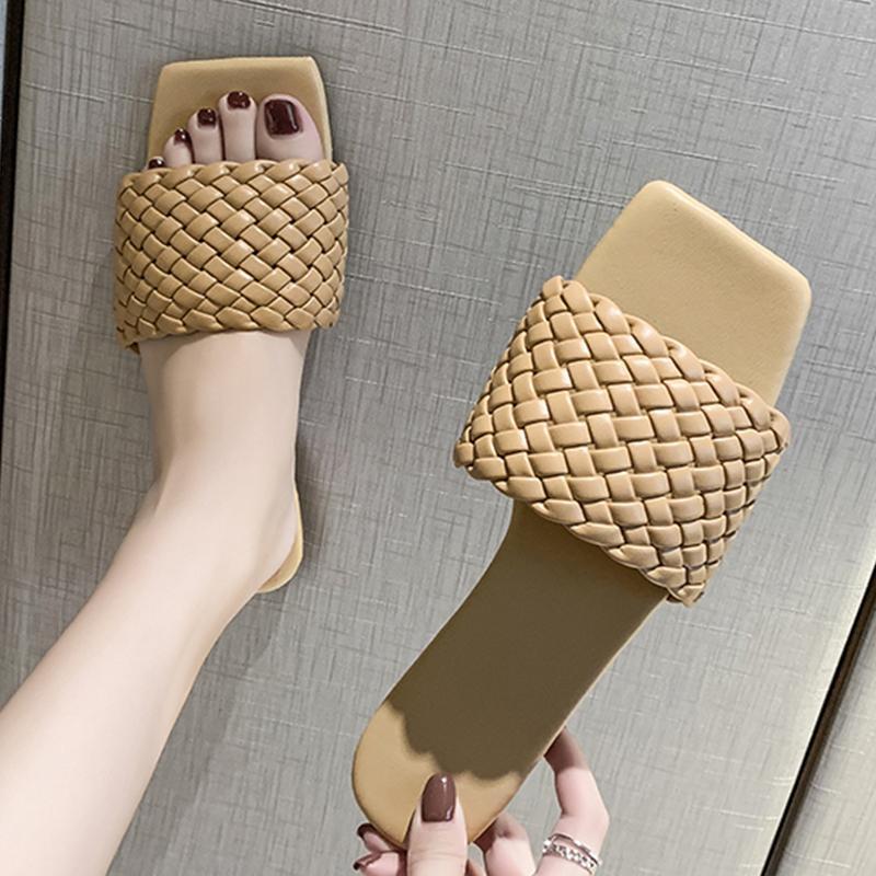 Мода Темперамент Плетеный Charm Open Тое плоский Тапочки Набор для ног отпуск пляж сандалии Casual Вьетнамки Женская обувь