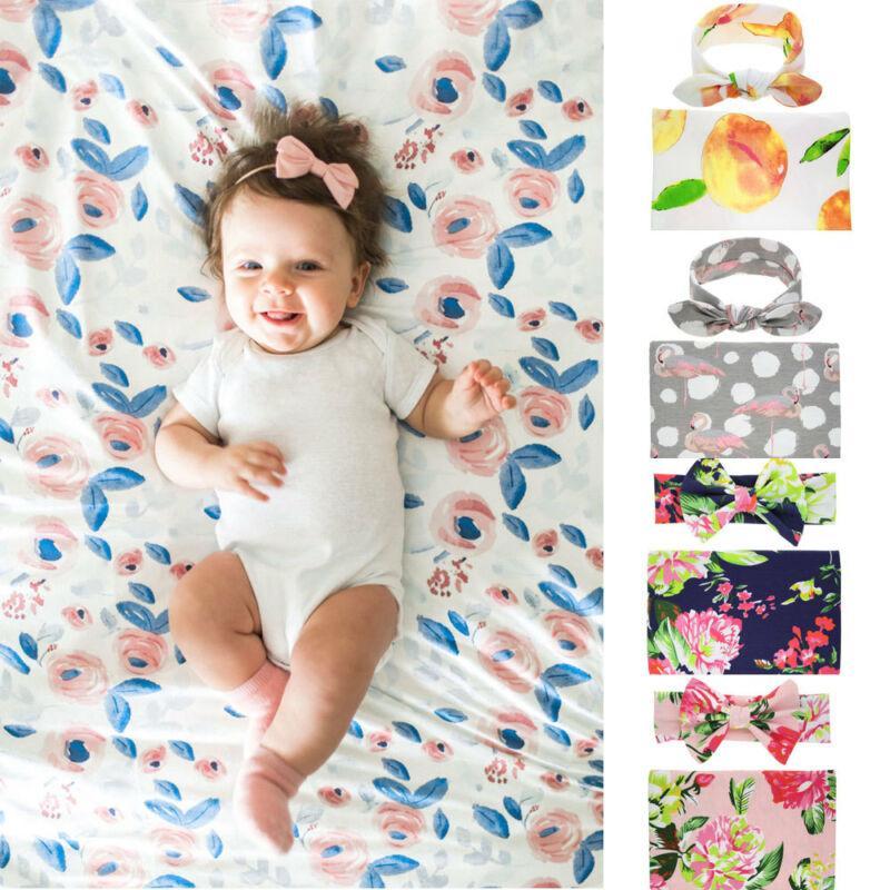 1 Set-nascidos Swaddle Blanket Bebés Meninos Meninas Dormir Toalha Saco Enrole Headband Cloth Headband Set Bebê Fotografia Props Blanket