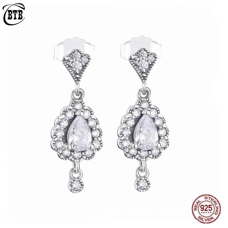 925 Sterling Silver autênticos originais radiantes Teardrops Gota Brincos com Cristal CZ Stone For Women encanto presente Fine Jewelry