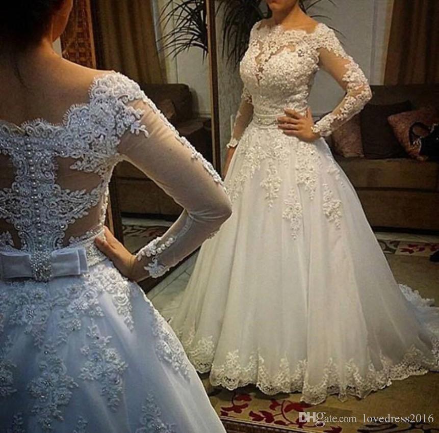 Apliques de encaje vintage Mangas largas Vestidos de boda con botones de lazo Volver Vestidos de novia Vestido largo de novia en línea de China