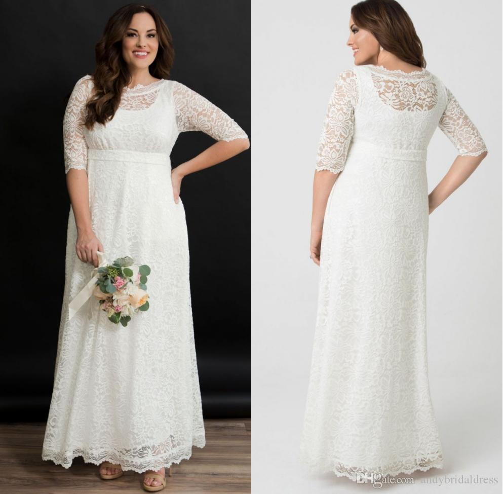 Country Style A Line Empire Wedding Dresses Plus Size Lace Bridal Gowns Short Sleeves Sheer Neck Bride Dresses