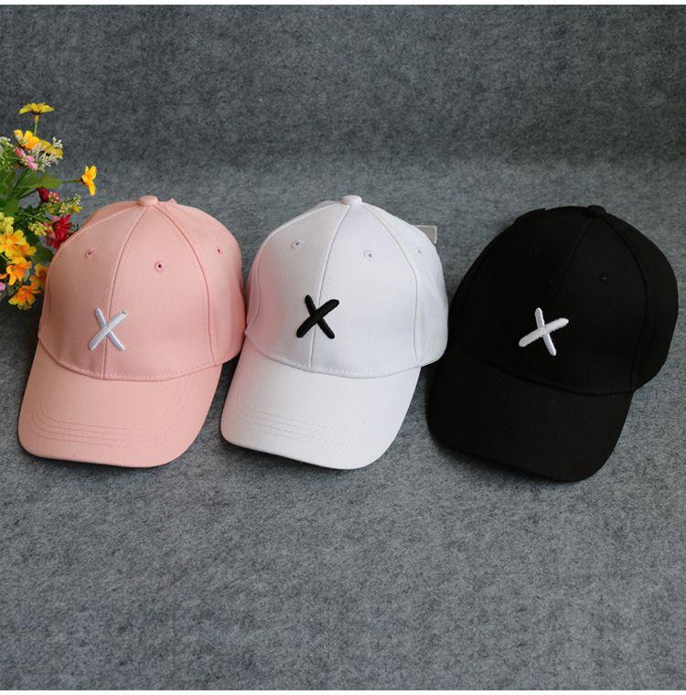 X boné de beisebol bordado elegante casal torto chapéu de língua de pato chapéu de guarda-sol
