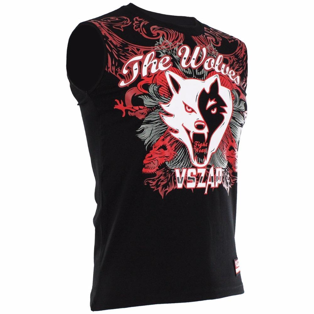 VSZAP Goldene Verpacken-T-Shirt Männer Günstige Mens MMA Kleidung atmungsaktive Baumwolle Shorts Muay Thai Kampf MMA Kickboxi Gym-T-Shirt