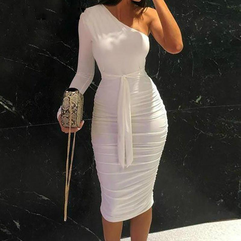 February Brand Designer Women Elegant Fashion Sexy Cocktail Party Slim Fit Dresses One Shoulder Belted Ruched Design Bodycon Midi Dress