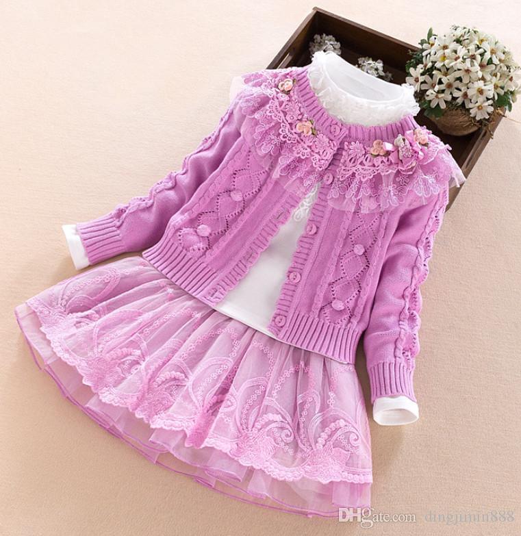 Üç Parçalı Elbiseler Çocuk Konfeksiyon Kız Sonbahar Bebek Giyim Seti 2019 Yeni Desen Çocuklar Will Çocuk Batı Tarzı Triko Suit