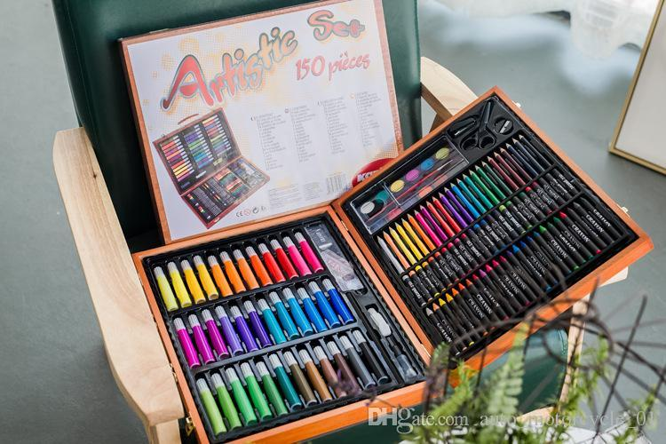 Kid's Painting Stationery Set Stationery Art Set Watercolor Pen Wooden Gift Box Packed Sets Supplies Retail Wholesale DHL Free Shipping