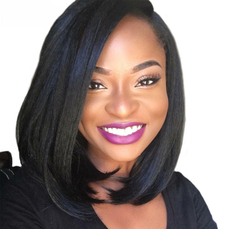 الجبهة شعر الإنسان الباروكات قصيرة بوب الباروكة البرازيلي ريمي الشعر مستقيم للنساء السود اللون الطبيعي لمة dollface
