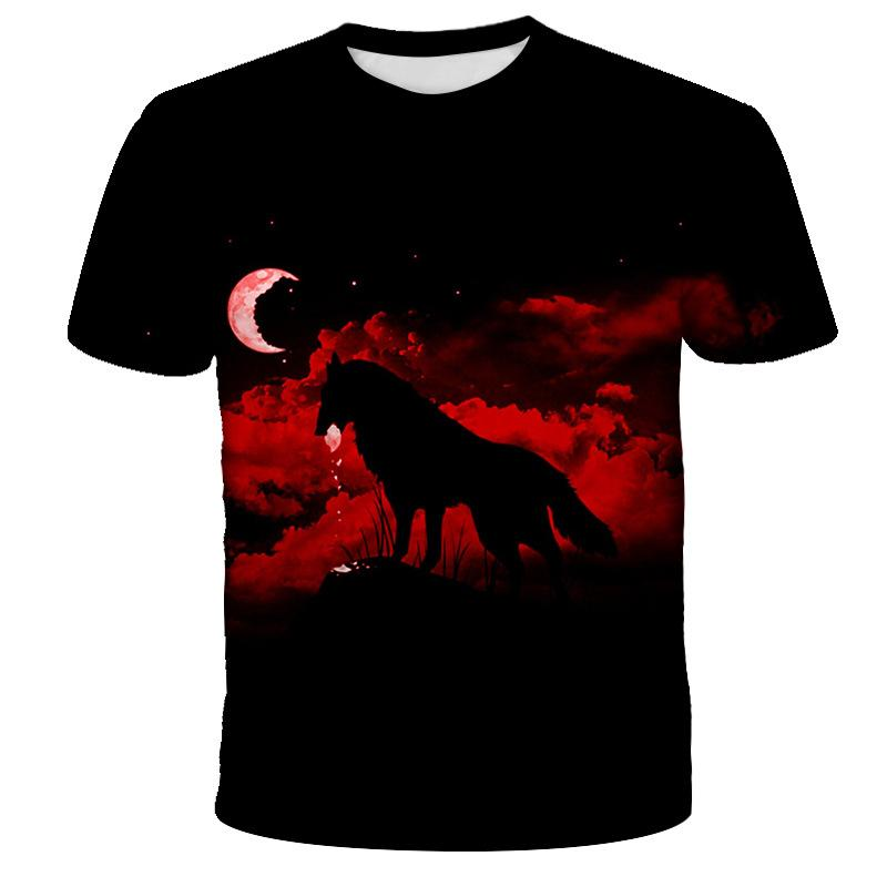 Runde T-Shirt Mann Kragen kurzes T-Shirt Männer Art und Weise T-Shirt kurz Neue Sommer-Marken-Größe 3D Wolf Kopf Tops Männer Kleidung
