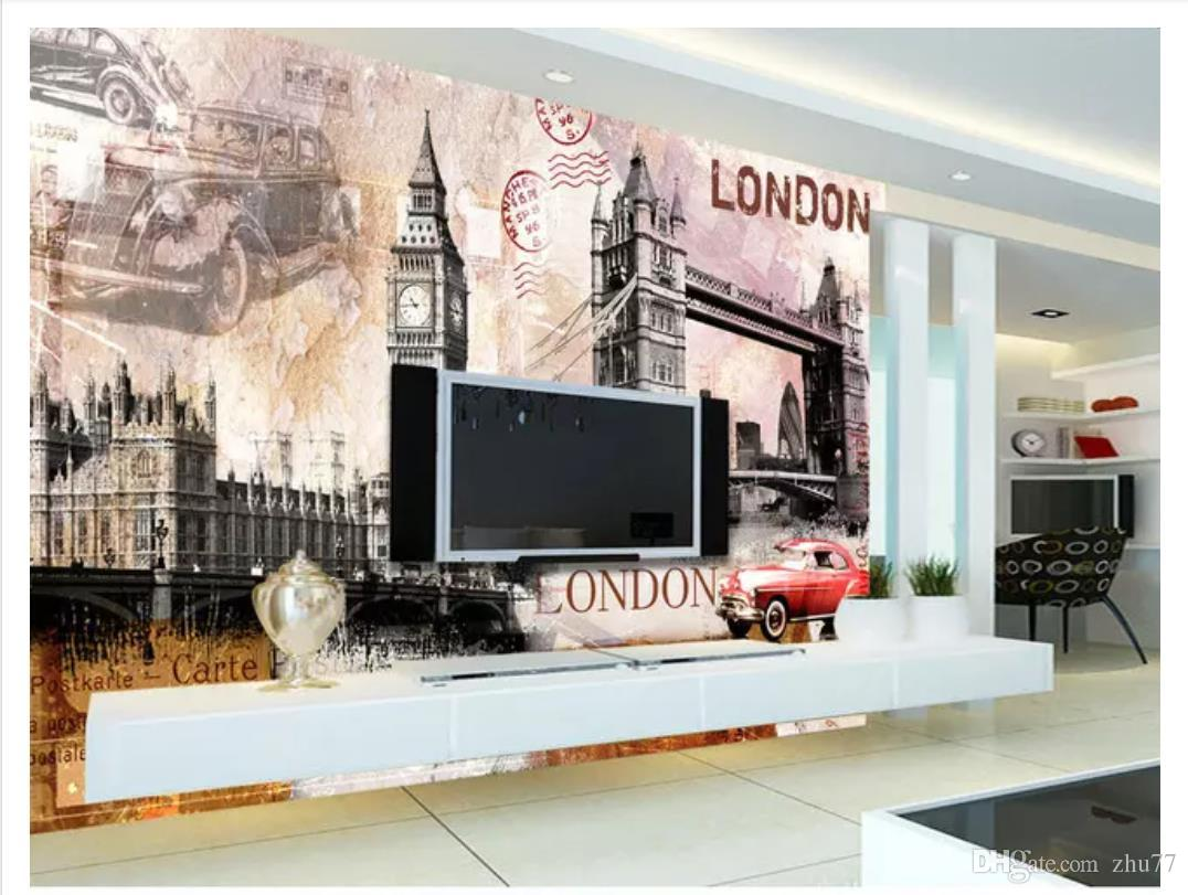 Personalizado 3D Silk Photo Mural Papel De Parede Retro Europeu Edifício Big Ben Londres Tower Bridge Bar Tooling Fundo Adesivo de Parede
