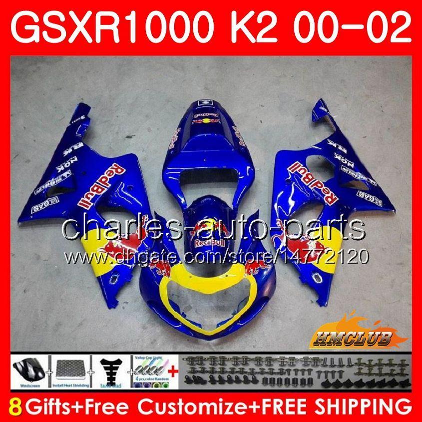 Cadre pour Suzuki GSX-R1000 GSXR1000 K2 GSX R1000 00 02 Kit de carrossage 14HC.7 Jaune Rouge Jaune GSXR-1000 GSXR 1000 00 01 02 2000 2001 2002 Caréning