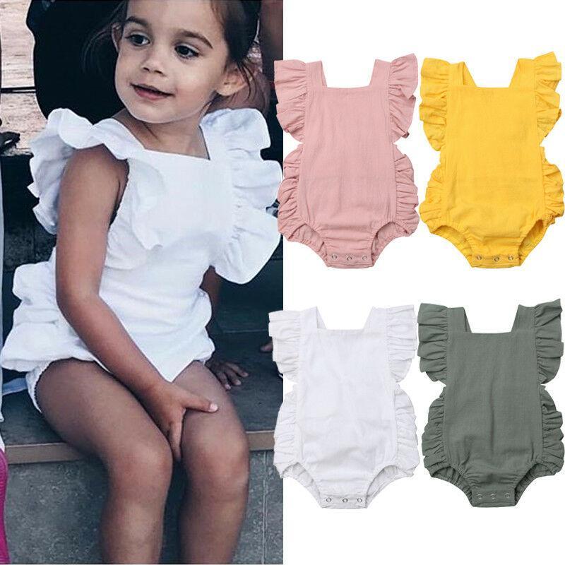 Yenidoğan Bebek Kız Fırfır Katı Renk Romper Bodysuit Tulum Kıyafet Sunsuit