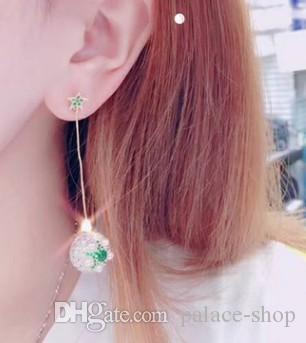 free shipping high quality noble diamond Crystal flower drop 925 silver needing lady's earings (43kk