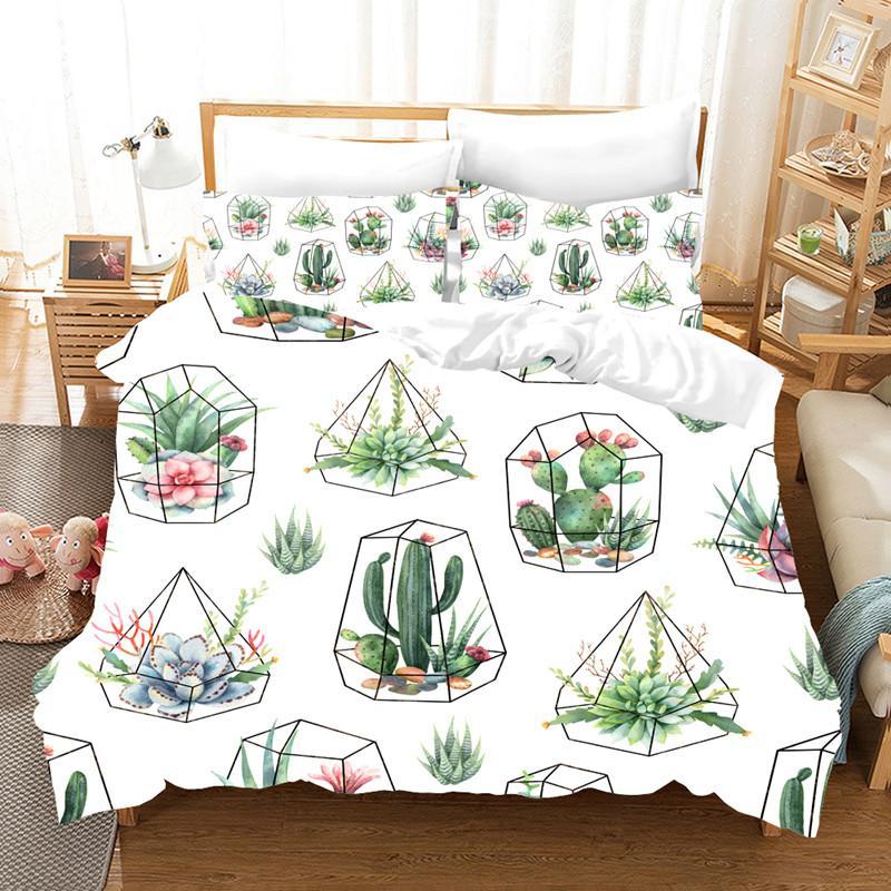 Suluboya tropik bitkiler seti güzel yataklar ve yastık kılıfları yatak örtüleri ev tekstili yatak takımları