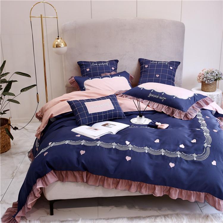 trasporto libero versione coreana di tessili per la casa 60 lungo fiocco di cotone da ricamo a quattro piece La base all'ingrosso lenzuola in cotone stile principessa del cotone