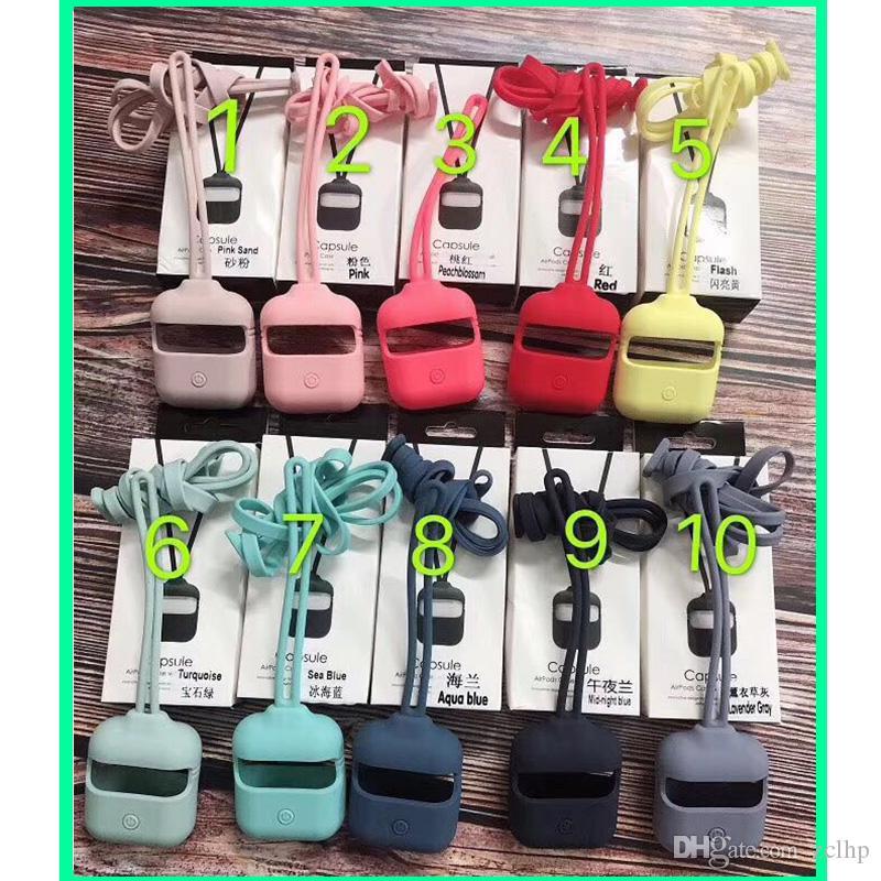 Para airpods caso New Silicone Headphone Capa para 2 Geração 1 e 2, 15 cores, com uma corda longa e curta de elevação na mesma cor