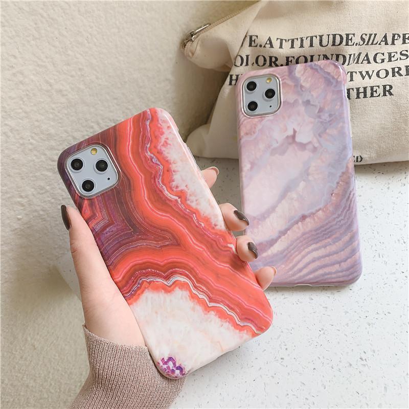 Для Iphone 11 Pro Max Case Luxury Глянцевого моды Pink Marble узорчатой Soft IMD Кок задняя крышка для Iphone 8 Plus ХГ Xs Max X-6S 7 Plus