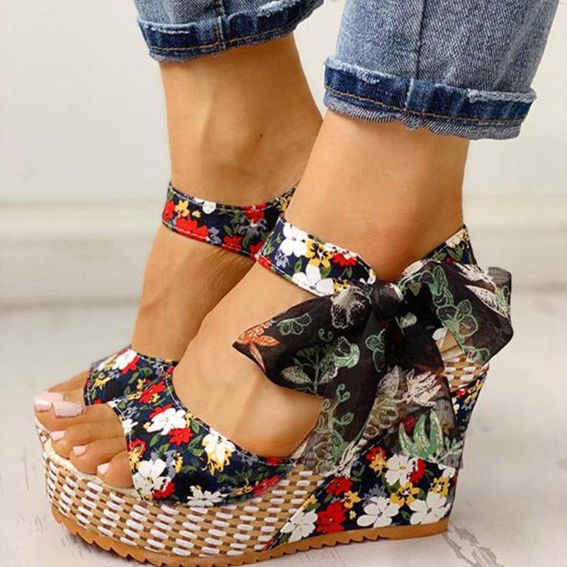 Frauen Sandalen Punktbowknot-Design-Plattform-Keil Weibliche beiläufige hohe increas Schuhe Damenmode Knöchelriemen öffnen Toe Sandalen S20326