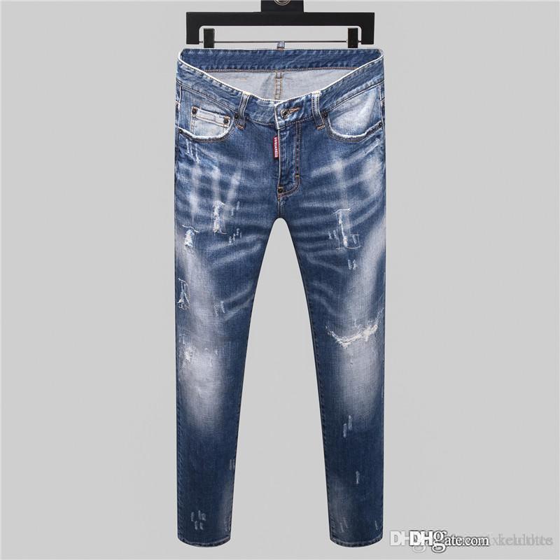 Designer mens jeans, vecchi pantaloni stretti su misura, abbigliamento di lusso, moto sottile, moto, cowboy hip-hop, ricami maschile, piedi