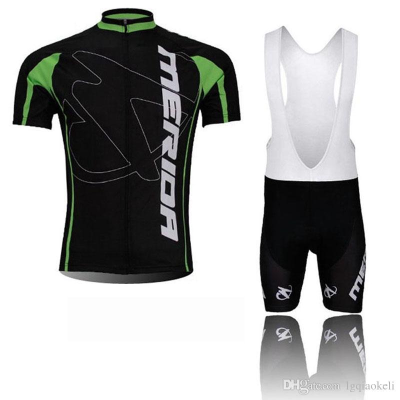 MERIDA 팀 사이클링 반팔 저지 bib 반바지 세트 남자 여름 의류 운동복 야외 Mtb Ropa Ciclismo 자전거 착용 Q60918