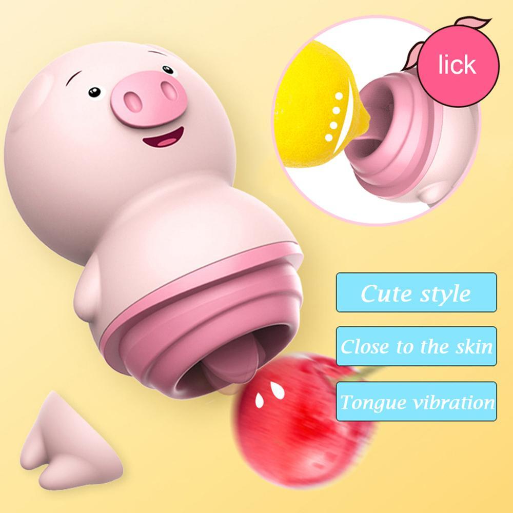 Поросенок сосет вибратор клитор присоска стимулятор клитора мастурбатор фаллоимитатор ниппель язык оральные игрушки для взрослых Секс Игрушки для женщин Y200421