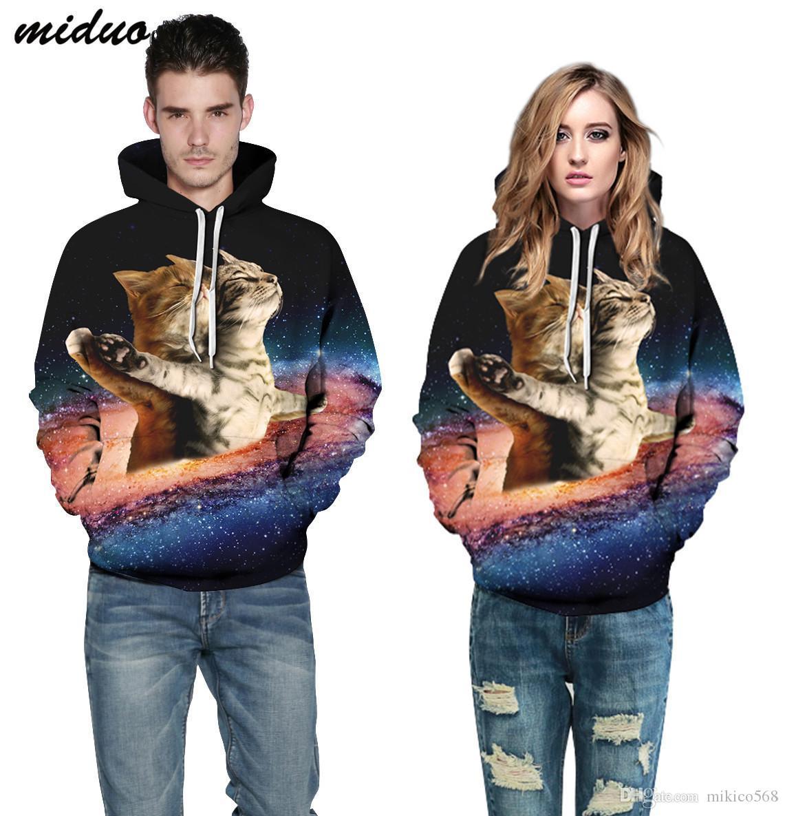 Yıldız kedi köpek dijital baskı Hoodie Boyut spor kazak çiftler beyzbol giysiler elbise uzun kollu spor ceket kazak yeni yeni
