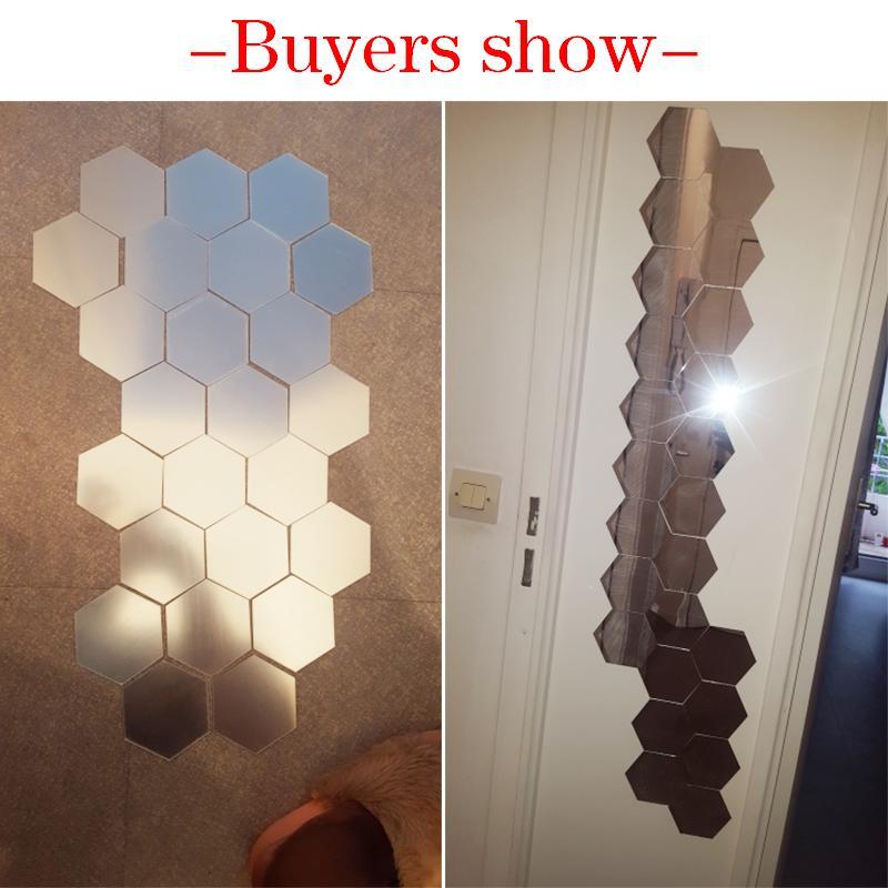 12pcs / set Hexagonal Spiegel-Wand-Aufkleber DIY Brick-Wand-Aufkleber Wohnzimmer-Dekor-Schaum-Wasserdichte Wandverkleidung Tapete