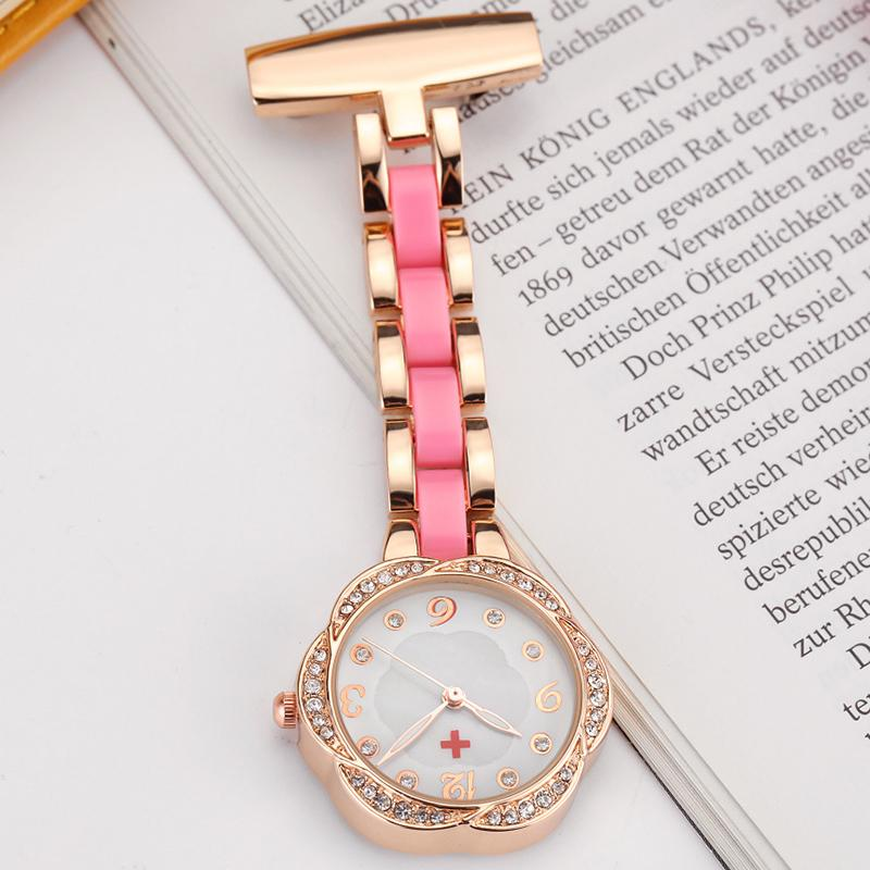 Paramedic Brooch Pin Medical Nurse Fob Watch For Doctors Gift Women Clip-on Stainess Steel Pocket Watch Pendant Crystal Flower