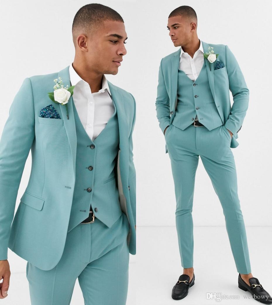 Heißer Verkauf Minze grüne Herrenanzüge Slim Fit 3 Stücke Strand Groomsmen Wedding Smoking für Männer Peared Revered Profile Prom Coll Anzug (Jacke + Hose + Weste)