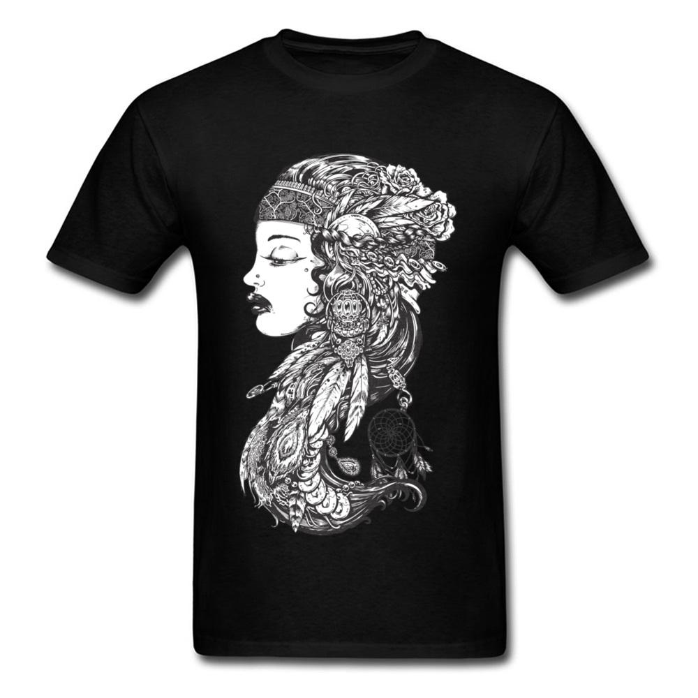 2018 New Arrival Gypsy Girl Print Men Black T-shirt O Neck Cotton Tops & Tees Unique Character Painting Hip Hop Tshirt