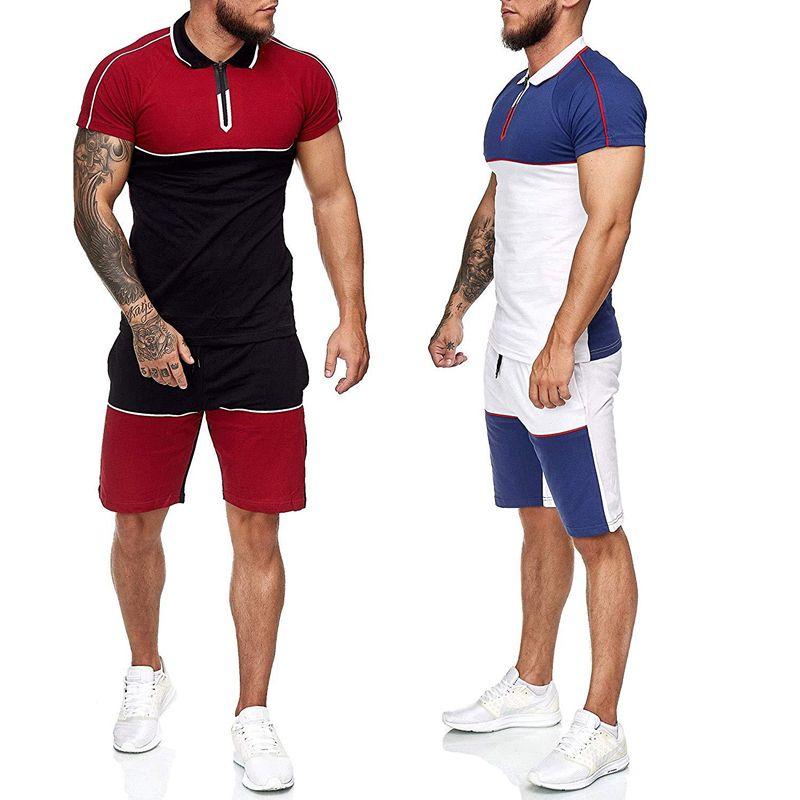 Herren-Trainingsanzüge 2 Stück Outfit Anzug Sport Sets Man Patchwork Kurzarm T-Shirt + Hosen-Sommer-beiläufige Eignung der Sportwear