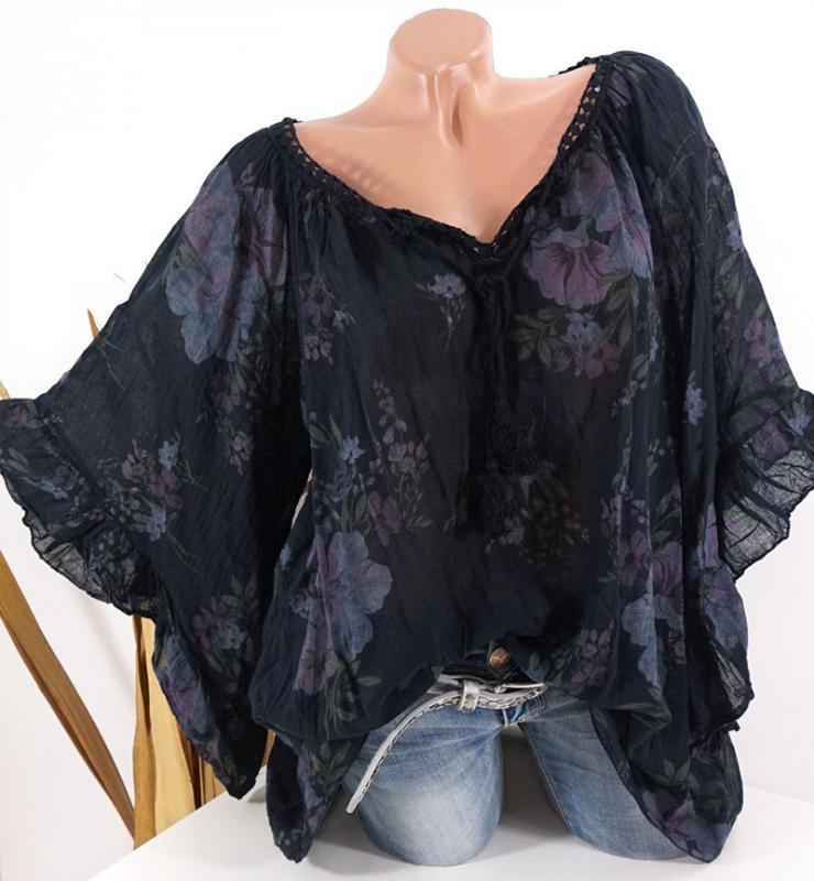 Camisas de las mujeres con cuello en V de gran tamaño suelta de manga larga delgada noble elegante tendencia Vogue verano camisas