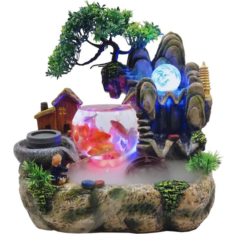 Steinwasserbrunnen Dekoration Fisch-Behälter Handwerk Indoor Desktop-Dekoration Chinese Trübungen Wind Wasser Rad nach Hause Schmuck